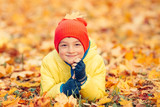Smiling boy lying on the yellow leaves in autumn park - 172643834