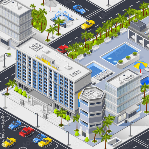 City Landscape With Hotels Pools And Car Parking  - 172644064