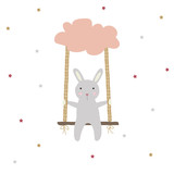 Cute little bunny sitting on a swing. Vector hand drawn illustration. - 172645883