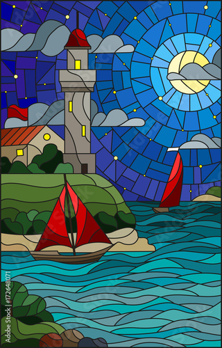 Obraz na Szkle Illustration in stained glass style with sea view, three ships and a shore with a lighthouse in the background of starry night cloud , moon and sea