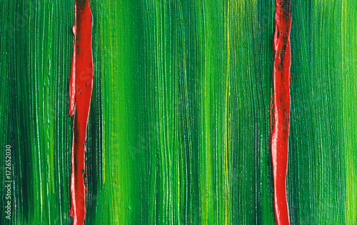 Abstract Oil Painting Background With Two Vertical Red Stripes. Oil on Canvas. Original Hand-Painted Art Picture. Brightly Expressed Texture. © shvets_tetiana