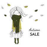 Girl with purchases in a big scarf - 172657246