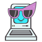 Happy little eighties computer emoticon with big purple sunglasses, vector cartoon isolated on white background