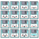 Collection of cute little diskette emoticons with mustache expressing different emotions, vector cartoon isolated on white background