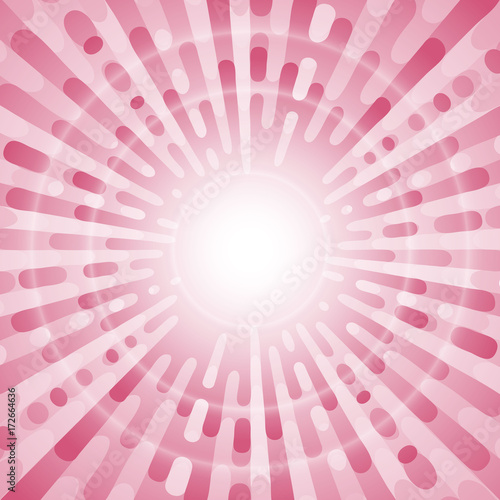 Papiers peints Pop Art Pink pop art retro background with circle lights. Exploding rays comic style. Vector illustration.