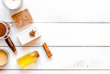cosmetics for spa on wooden background top view - 172666271