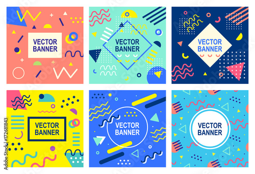 Poster Pop Art Memphis style banner templates collection