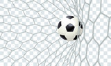 Football ball in the net with transparent background.