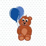baby teddybär mit blauen luftballons