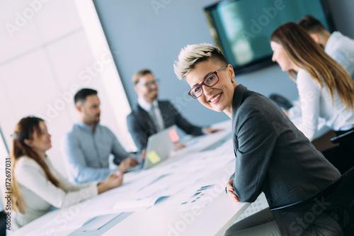 Zobacz obraz Portrait of young female architect on meeting