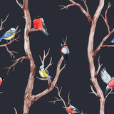 Fall trees and birds vector pattern - 172716808
