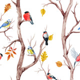 Fall trees and birds vector pattern - 172716861