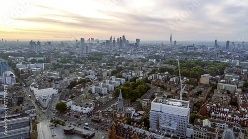 Aluminium London Aerial View London Sunrise Cityscape Iconic Landmarks and King's Cross St Pancras International Station