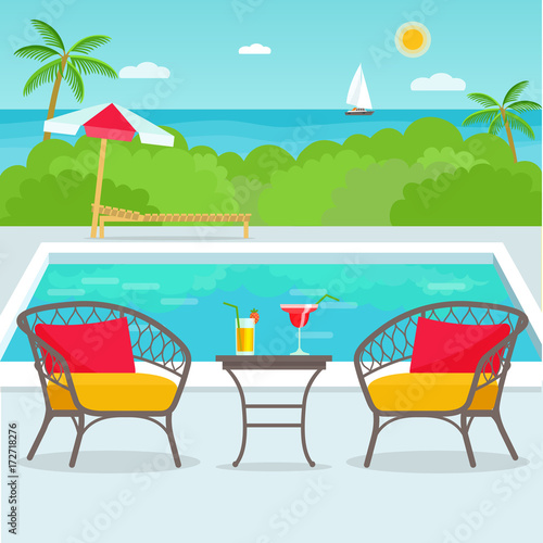 In de dag Turkoois Hotel swimming pool bar, restaurant furniture chairs and table. Vector flat illustration.