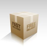 Fast free delivery parcel box vector illustration - 172723849