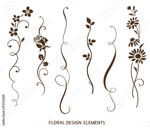 Set of vertical calligraphic elements and flower silhouette for frame design and page decor. Vector vintage ornaments