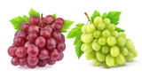 Red and green grape with leaves isolated on white background. Studio shot. Collection