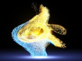 dance of energy particles into dark. 3d illustration - 172730055