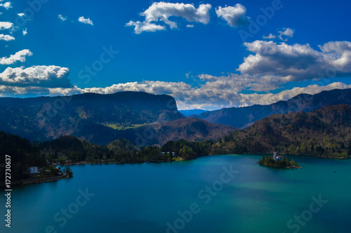 Deurstickers Groen blauw Stunning view of beautiful Lake Bled, Slovenia