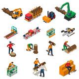 Sawmill Timber Mill Lumberjack Icon Set