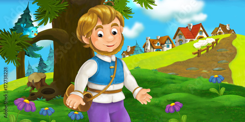 cartoon scene with traveler near the village - illustration for children - 172738228