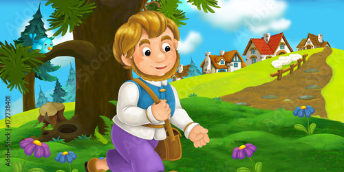 cartoon scene with traveler near the village - illustration for children - 172738401