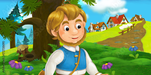 cartoon scene with traveler near the village - illustration for children - 172738690