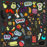 Sports hand draw icon and elements. Fitness and sport colored icon collection, cartoon doodle sport icons.
