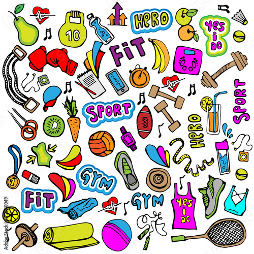 Wall mural Sports hand draw icon and elements. Fitness and sport colored icon collection, cartoon doodle sport icons.