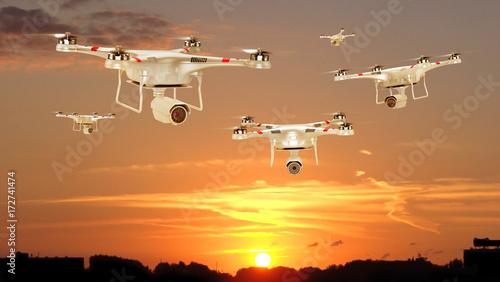 Foto op Canvas UFO Set of flying drone. 3d illustration