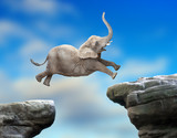 Big Elephant jumping over a gap. Successful business metaphor and jump to new year concept. - 172742488