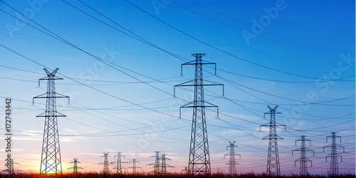 Power Line at the Blue Sky Poster