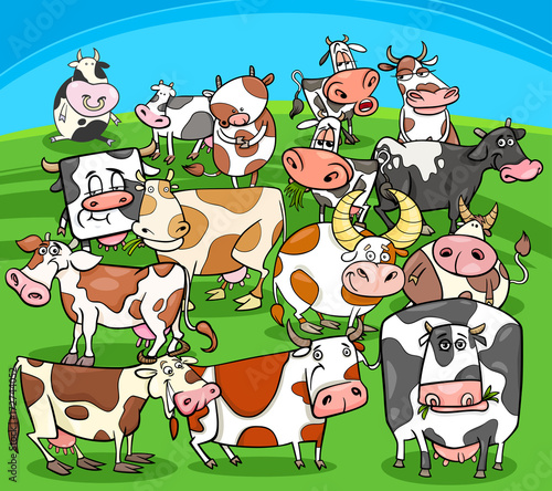 Fridge magnet cartoon cows farm animals group