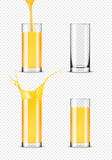 Set of glasses of orange juice on transparent background - 172745052