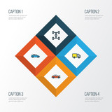 Car Colorful Outline Icons Set. Collection Of Cabriolet, Truck, Carcass And Other Elements. Also Includes Symbols Such As Bonnet, Car, Van. - 172746656