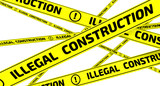 Illegal construction. Yellow warning tapes - 172748641
