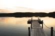 Weathered wooden boat dock in Maine