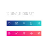 Set Of 10 Search Outline Icons Set.Collection Of Landing Page, Web Design, Stock Exchange Elements. - 172749464