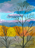 Autumn view with tree silhouettes on the background of forest and cloudy sky. Colorful acrylic drawing