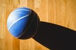Overhead view of blue basketball