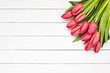 Pink tulips bouquet. Holiday background. Copy space, top view