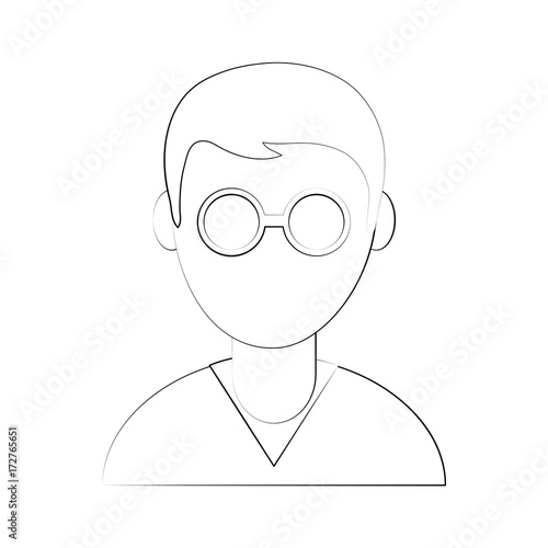 Man Avatar Wearing Round Frame Glasses Icon Image Vector