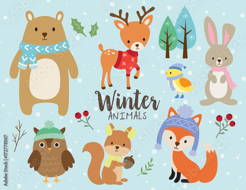 Vector illustration of cute winter animals including bear, deer, rabbit, bunny, owl, squirrel, bird and fox wearing winter outfits.