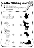 Shadow matching game of arctic animals for preschool kids activity worksheet layout in A4 coloring printable version. Vector Illustration. - 172782269