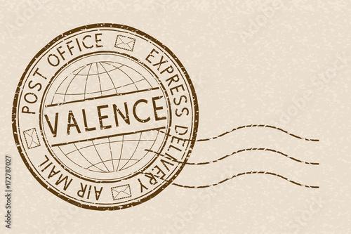 Postal stamp, round brown Express delivery postmark. VALENCE. Vector illustration on beige background