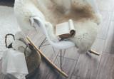 Rocket chair with sheep skin rug in scandinavian living room - 172787880
