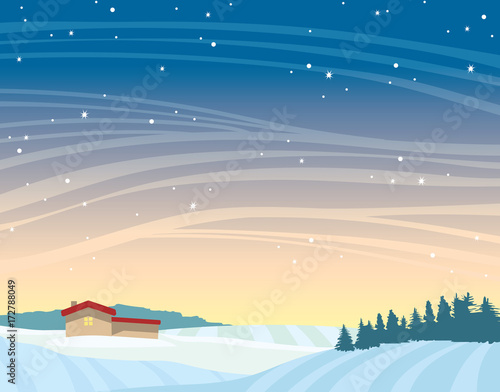 Keuken foto achterwand Beige Winter night landscape - house, forest, snowdrifts.