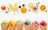 Various of ice cream flavor in cones blueberry ,strawberry ,pistachio ,almond ,orange and cherry setup on white wooden background . Summer and Sweet menu concept. - 172793429
