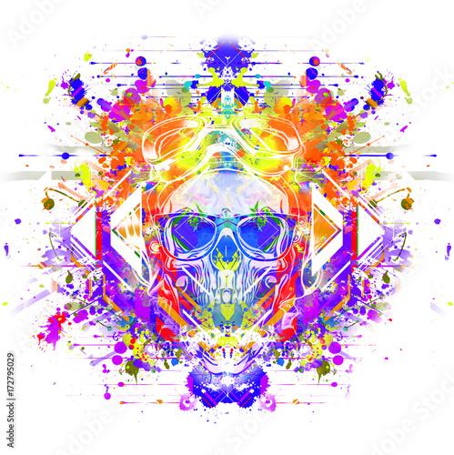 Aluminium Reznik Злой череп красочные иллюстрации искусства с красочными краской фон splatters.
