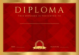 Diploma, Certificate of completion (abstract design template, background) with gold frame and dark red pattern - 172797020